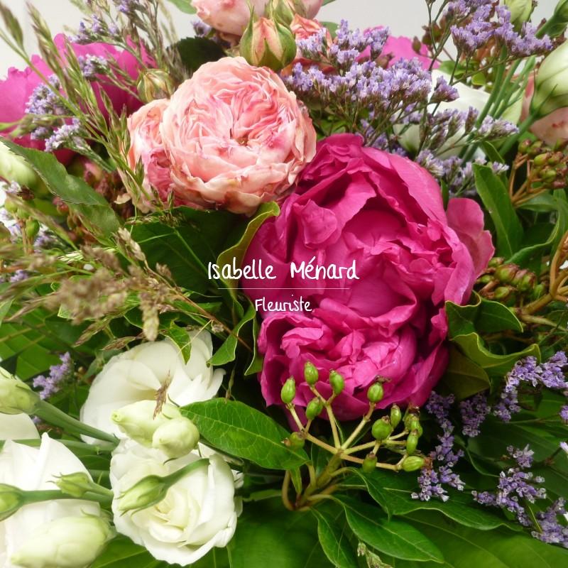 bouquet rond champêtre coloré