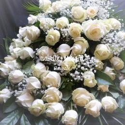 gerbe de roses blanches -...