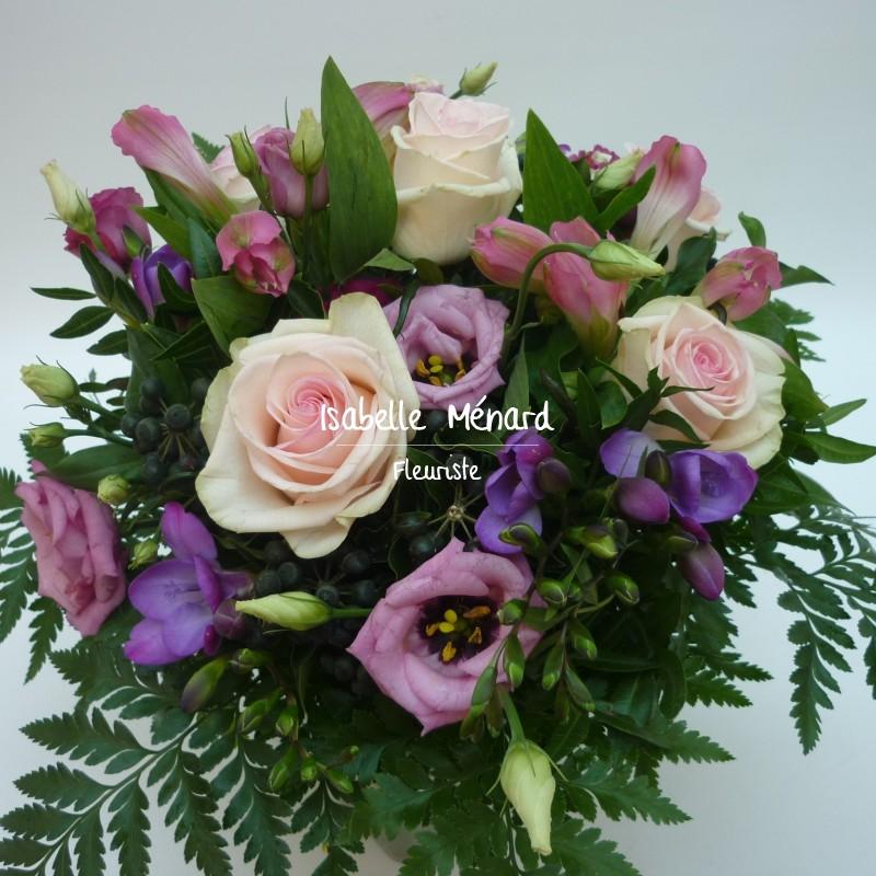 bouquet rond rose-parme