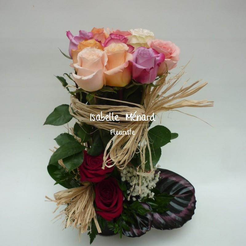 composition de roses en fagot