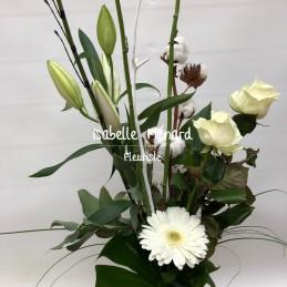 bouquet coton et fleurs...