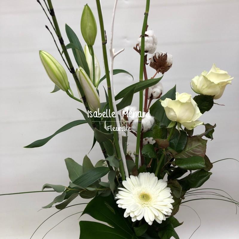 bouquet coton et fleurs blanches